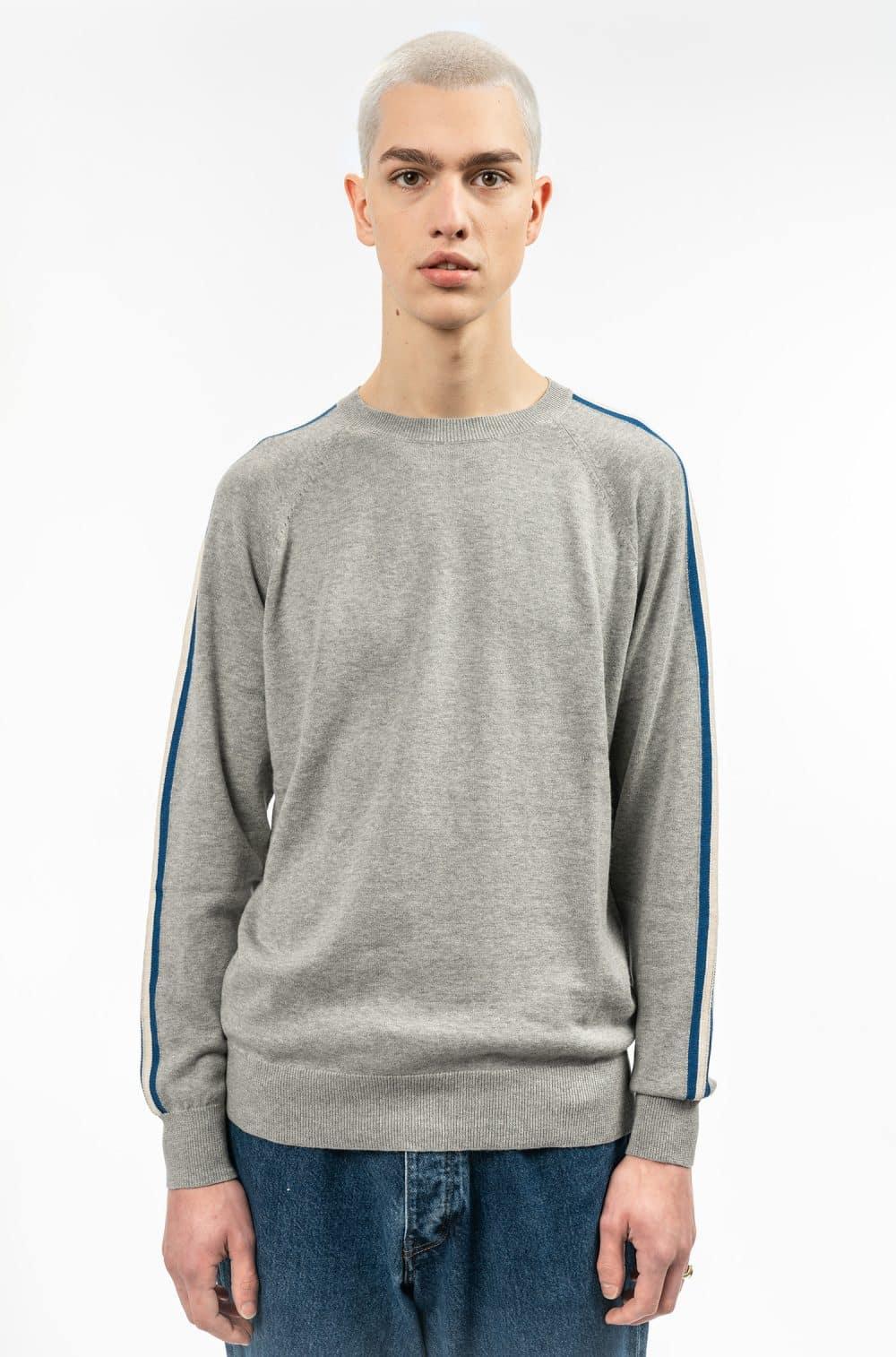 Stapleton Knitwear - Middle Grey blue stripe