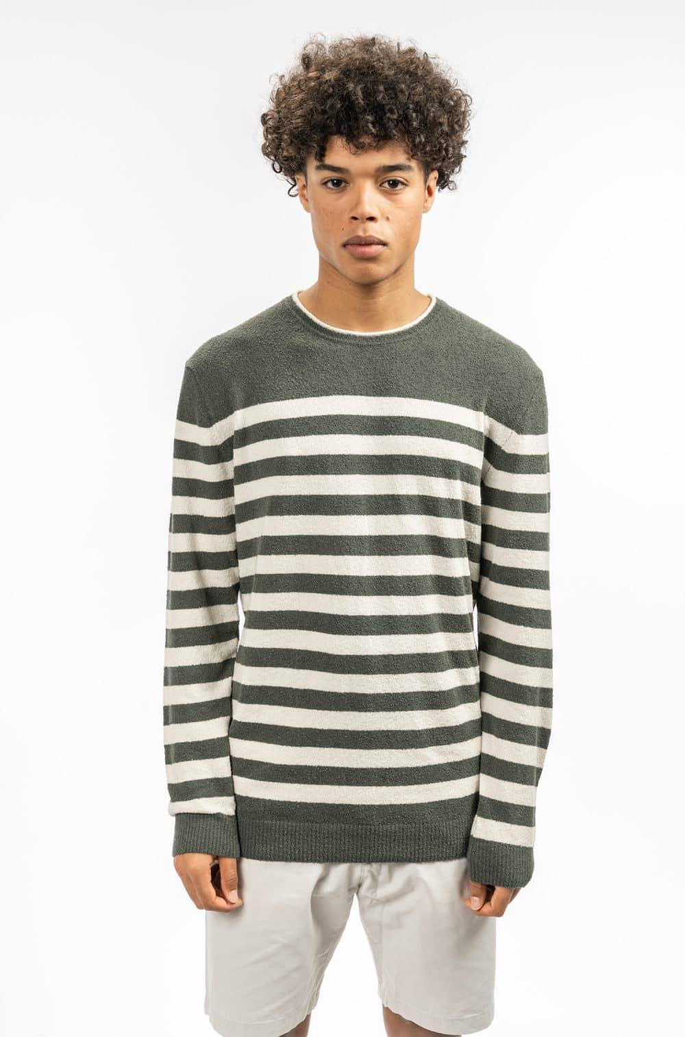 castart knitwear khaki white stripes SS19 Colorful & qualitative Castart knitwear - shop castart men's clothing