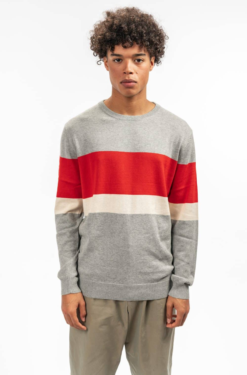 Castart Fieldston grey red beige colour block Knitwear SS19 Colorful & qualitative Castart knitwear - shop castart men's clothing