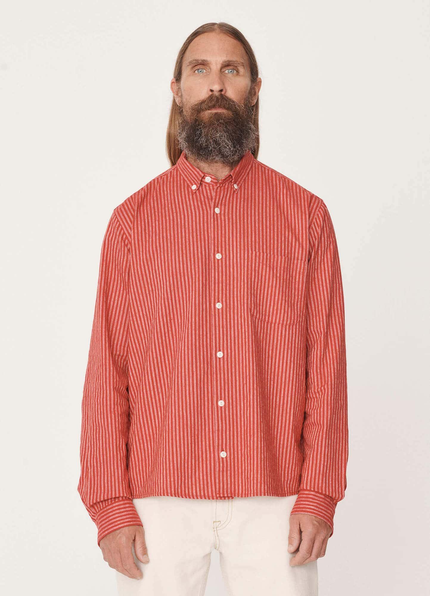 YMC - Castart - Dean Cotton Linen Shirt - Red