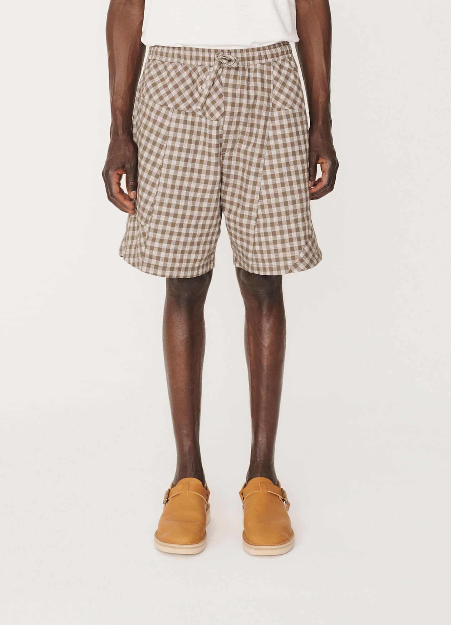 YMC - Castart - Z Patchwork check shorts - Olive